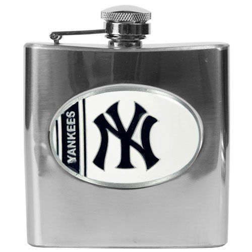 MLB New York Yankees 6oz Stainless Steel Flask by Great American Products. $29.99. Proudly displays hand-crafted metal emblem featuring the Team Logo.. High quality collectible design. Handcrafted  high-quality metal logo. Officially Licensed flask decorated in team colors.