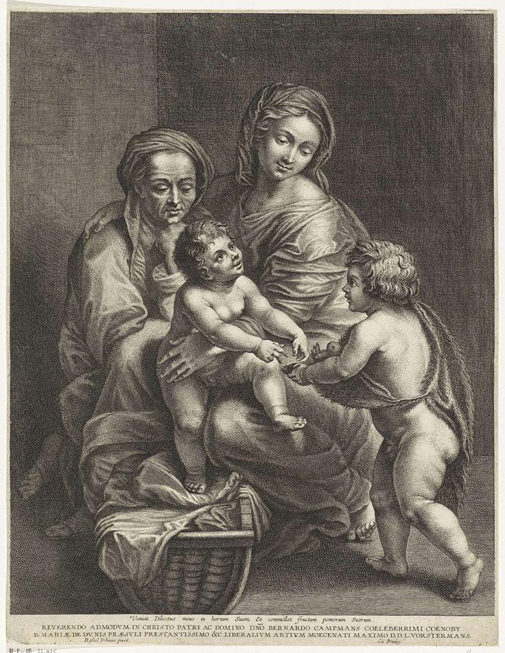 Maria met Kind, Elisabet en Johannes de Doper als kind, Lucas Vorsterman (I), 1617 - 1675