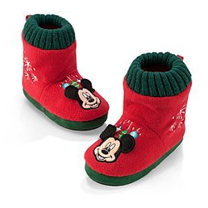 Disney Mickey Mouse Fleece Slippers for Kids - Holiday | Disney StoreMickey Mouse Fleece Slippers for Kids - Holiday - They'll enjoy toasty toes when they're all snuggled inside these Mickey Mouse Slippers for Kids. The Mickey appliqu� features 3-D ears while embroidered snowflakes fall on the soft fleece uppers with knitted green tops.