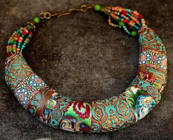 necklace by tanya mayorova a combination of polymer clay (fimo) and beads