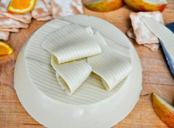 Apparently this is a vegan cheese, made of coconut, that melts!