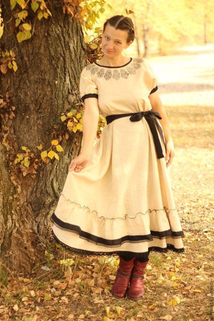 """Купить Платье """"Набойка по бежевому"""" - бежевый, орнамент, одежда из льна, натуральные ткани, красивое платье"""