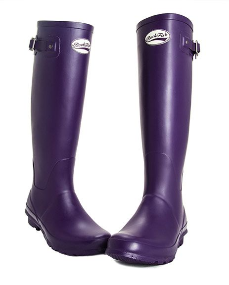Purple Grape - Rockfish ladies wellingtons Matt finish - extra wide calf fit  or standard fit