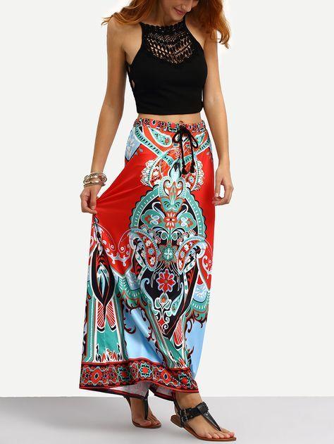 Falda Maxi estampada tribal con cintura de borla-Spanish SheIn(Sheinside)