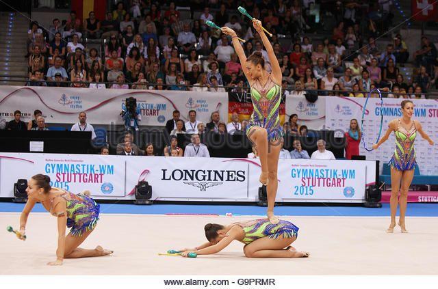 Tsvetelina Stoyanova from Bulgaria performing with the Bulgarian group during 34th Rhythmic Gymnastics World Championships - Stock Image