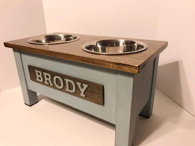 Rustic Wooden Dog Dish Stand, Dog Feeder, Personalized Dog Bowl, Dog Bowl, Raised Dog Feeder, Elevated Pet Bowls, Dog Feeding Station by EatAndBark on Etsy https://www.etsy.com/listing/519384337/rustic-wooden-dog-dish-stand-dog-feeder