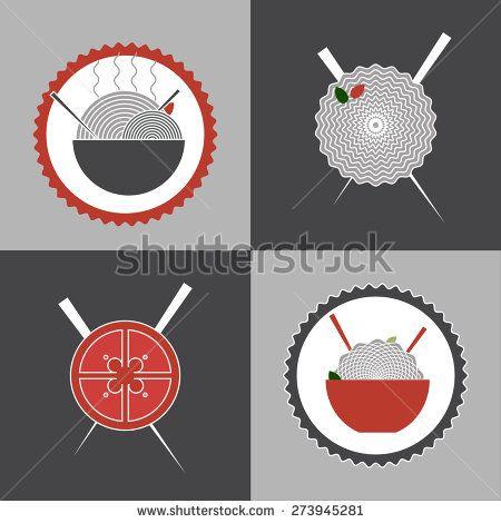 noodles logo collection, restaurant logo, banner, concept - stock vector