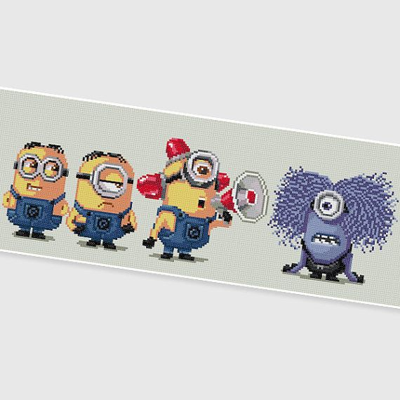 "PDF Cross Stitch pattern "" Minions "" by PDFcrossstitch"