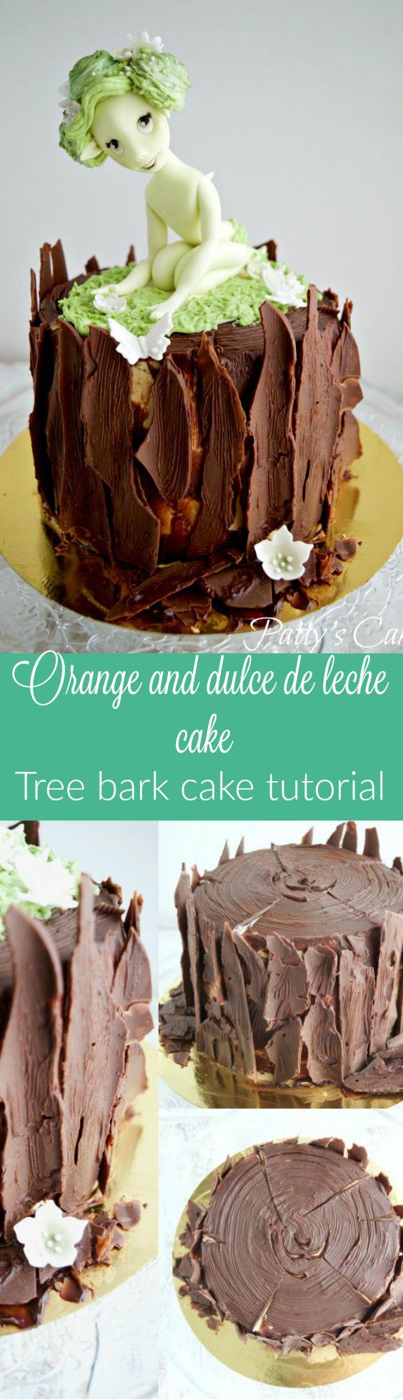 Tarta de naranja y dulce de leche - Tutorial de tronco de árbol todo de chocolate - English recipe and tutorial included