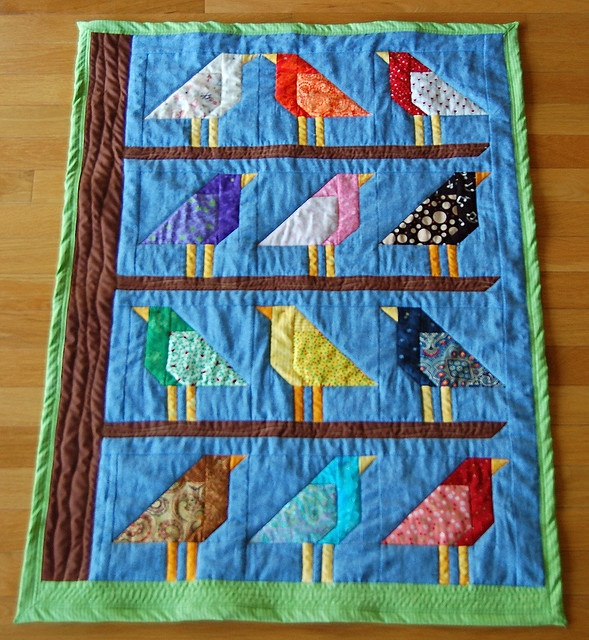 "baby quilt: ""Adelaide's birds"" by 80kay, via Flickr"