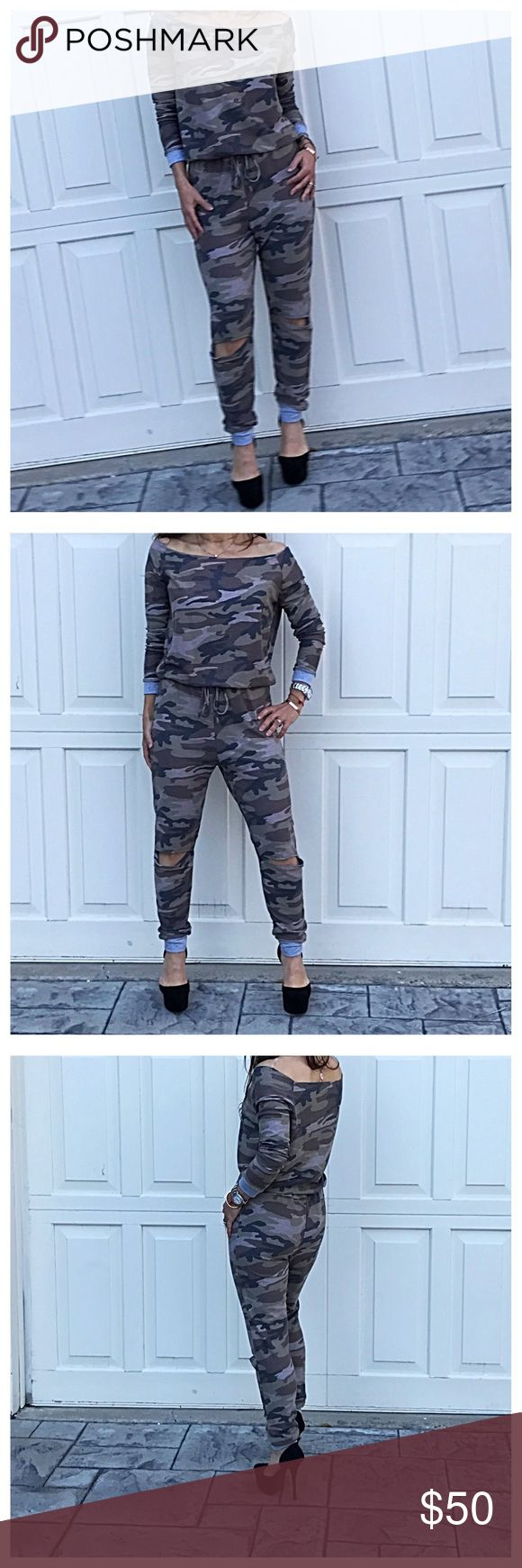 🆕 camouflage jumpsuit Chic unique scooped neck camouflage cut knee tie waist jumpsuit PLEASE Use the Poshmark new option you can purchase and it will give you the option to pick the size you want ( all sizes are available) BUNDLE and save 10% ( no trades price is firm unless bundled) Pants Jumpsuits & Rompers
