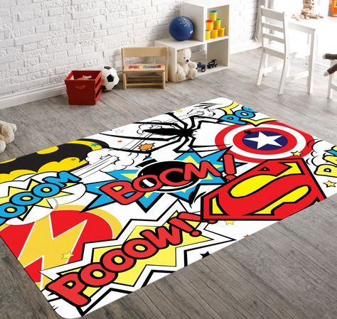Amazing Superhero Rug, Playroom Rug, Superhero Room Decor, Kids Playroom Decor,  Geek Home Decor, Teen Room Decor, Comic Book Art, Superhero Nursery