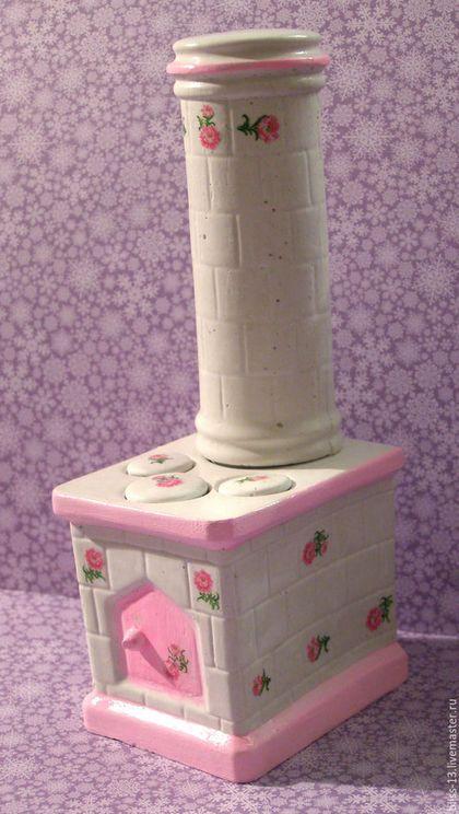 Купить Кукольная миниатюра Печка 1/12 - розовый, печка, миниатюра, миниатюра для кукол, мебель для кукол dollhouse miniature