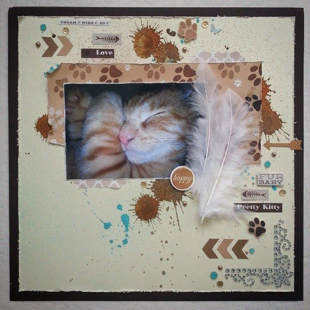 Kaisercraft Furry Friends collection. Scrapbooking Layout of my Ronnie