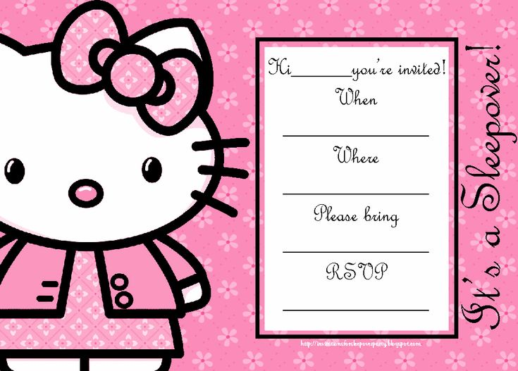 198 best Printable Sleepover Party for kids images on – Hello Kitty Birthday Party Invitations Printable
