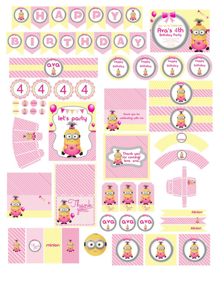 Minion Girl Birthday | Girl Minion Party | Minion for Girls Party | Minion Pink | Minion Girl Decoration| Minion Girl | Minions for Girls by KidsPartyDreams on Etsy