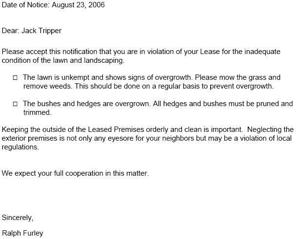 lease violation notice  u2013 tenant violation notices