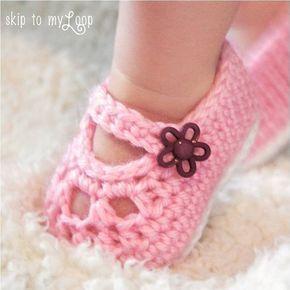 Zapatos de Mary Jane - patrón de zapatillas - botitas de bebé - patrón de ganchillo - ganchillo Merceditas - zapatos de la muchacha - fácil - zapatos de vestir