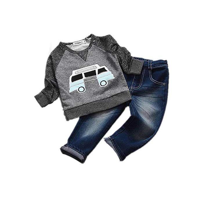 Toraway Summer Newborn Kids Baby Boys T-Shirt Tops+Pants Outfits Clothes Set