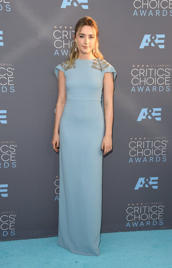 Pin for Later: Blue Is the Hottest Color of the Critics' Choice Awards Saoirse Ronan Wearing Antonio Berardi and Stephen Webster jewelry.