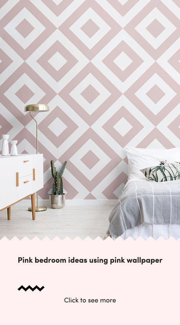 Dusky Pink White Geometric Wallpaper Mural Murals Wallpaper Pink Bedroom Decor Pink Bedroom Bedroom Decor Bedroom wallpaper ideas pink and grey