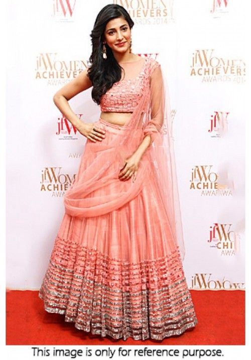 Bollywood Actress Shruti Hassan Net Lehenga in light pink colour