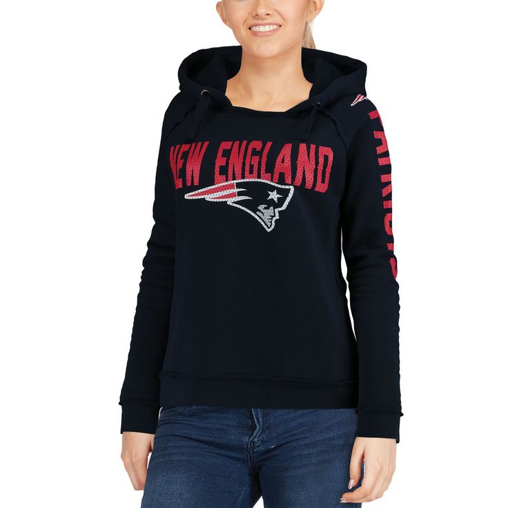 Women's New England Patriots 5th & Ocean by New Era Navy Mesh Pullover Hoodie