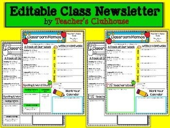 This is the class newsletter format that we use in our own classrooms. This newsletter is provided as an editable PowerPoint file. The graphics and sections are not editable, but all text (including titles/headings) are editable with your own information.