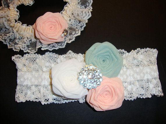 Borrowed Old New Blue Garter SET Peach Ivory Mint Rose Something Woodland Green Sage Blush Coral Salmon Pink Bud Flower Bridal Bride Wedding