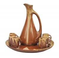 Denert et Balichon (Denbac), founded 1908 An Art Nouveau liquer service Vierzon/France, around 1910. Light stone ware, matt brown ground and beige running glaze. 8 parts: pot (h. 20 cm), tray (diam. 24 cm), 6 mugs. Manufactury mark.