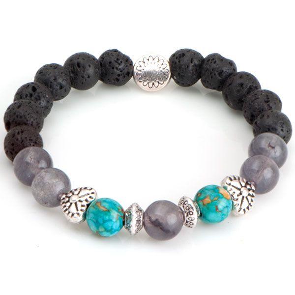 NRB0029 Buddha náramok s Lávovým kameňom, jadeitom a tyrkysom : Šperky Swarovski, SuperSperky.sk