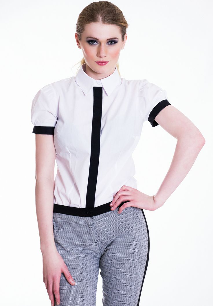 Transcend the seasons with this stylish contrast shirt. Pair with skinny jeans and a fitted blazer for a casual daytime look or style it up with a pencil skirt and clutch