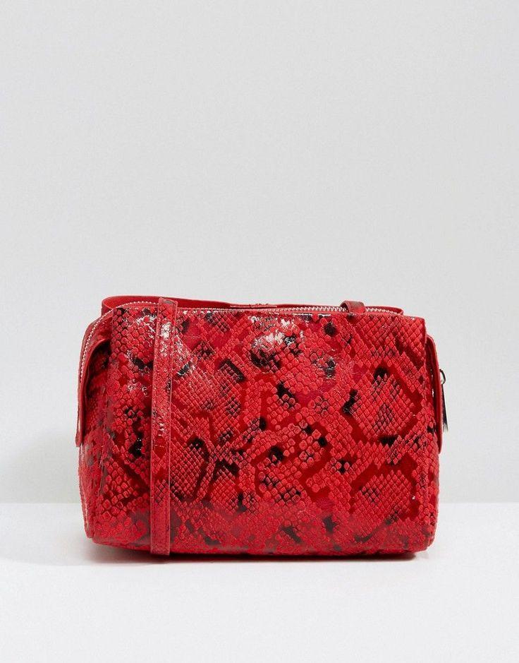Bershka Croc Print Cross Body Bag - Red