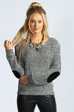 Tamara Marl Knit Elbow Patch Jumper at boohoo.com