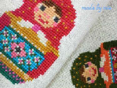 クロスステッチで作る お裁縫道具になった小さなマトリョーシカの会~ピンクッションとストラップ~ の画像 横浜クチュールアトリエ DOIGT DE FEE(ドゥワドフェ)