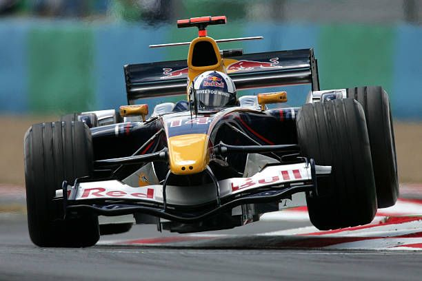 David Coulthard of Great Britain and Red Bull Racing in action during practice for the French F1 Grand Prix at the Circuit Nevers on July 1 2005 in...