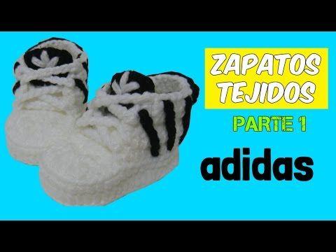 Zapatitos adidas tejidos a crochet 0-3 y 6-9 meses    parte 1/2 - YouTube