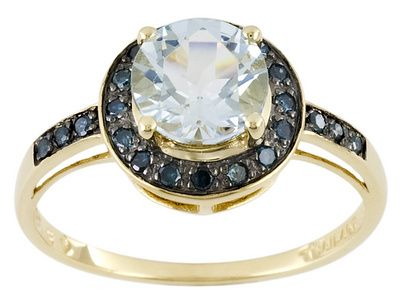Altai Aquamarine Tm Round With Blue Diamond Yellow Gold Ring Would Make A Good Engagement