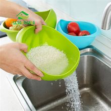 Super Practical!! Creative Fashion Wash Rice Sieve Bright Kitchen Plastic Drain Vegatable Basket  Kitchen Basket Strainer Gadget(China (Mainland))