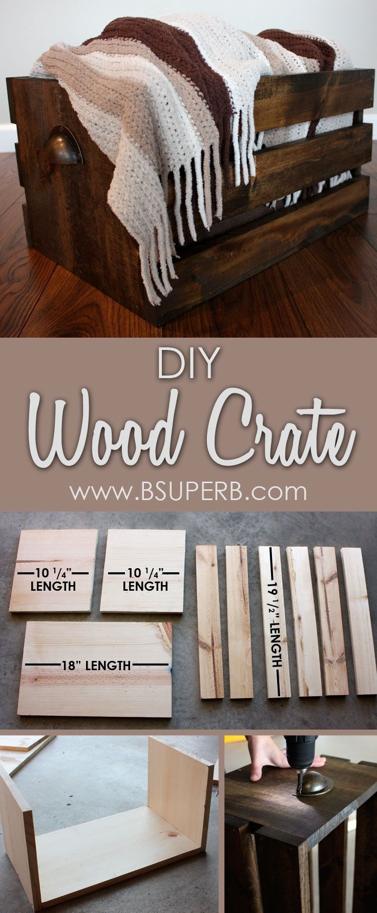Beautiful DIY Wood Crate - step by step tutorial