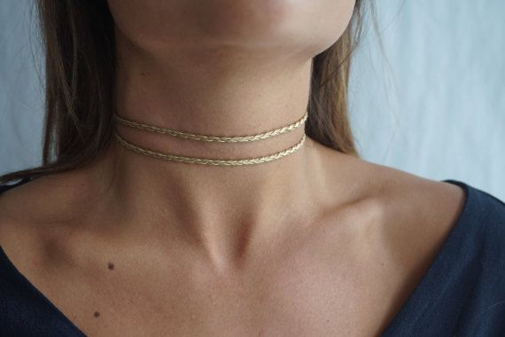 Double Cord Gold BlackSilver ChokerThin Dainty by tooposhh on Etsy