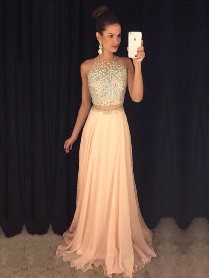 A-line Scoop Neck Chiffon Tulle with Beading Sweep Train Two Piece Fabulous Prom Dresses #UKM020103435