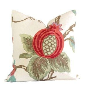 Kravet Lee Jofa Mandovi Pillow Cover Linen, oversize Jacobean print of poppy buds in shades of red, burgundy, soft green, light brown and cerulean blue