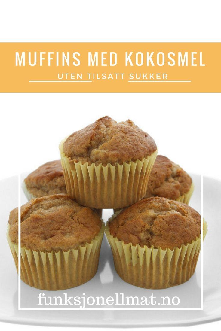 Muffins med kokosmel - Funksjonell Mat | Sunn oppskrift | Sukkerfri muffins | Oppskrift uten tilsatt sukker | Sukkerfri kake | Bakeinspirasjon | Coconut muffins | Sugar free muffins