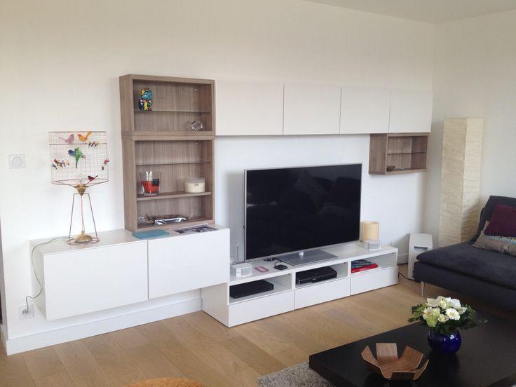 Simple album banc tv besta ikea ralisations clients srie for Fixer un meuble mural ikea
