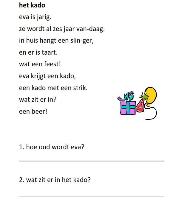 www.juf-lisanne.nl Begrijpend lezen opdracht groep 3 thema feest / thema verjaardag. AVI niveaus M3/E3.