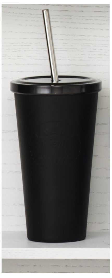 Insulated, stainless steel Cold Cup tumbler with embossed Siren logo and matte black finish. #Starbucks #DotCollection