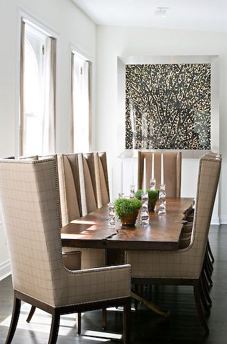 High Back Dining Chairs + Table Means A Cozy Comfortable Dining Experience.  No Stiff Muscles