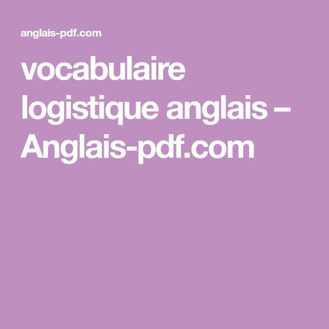 vocabulaire logistique anglais  u2013 anglais
