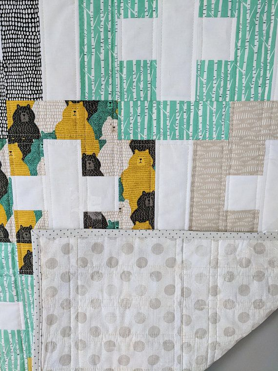 Handmade Baby Quilt Plus And Minus Featuring Big Sky Bears Handmade Baby Quilts Baby Quilts Quilts